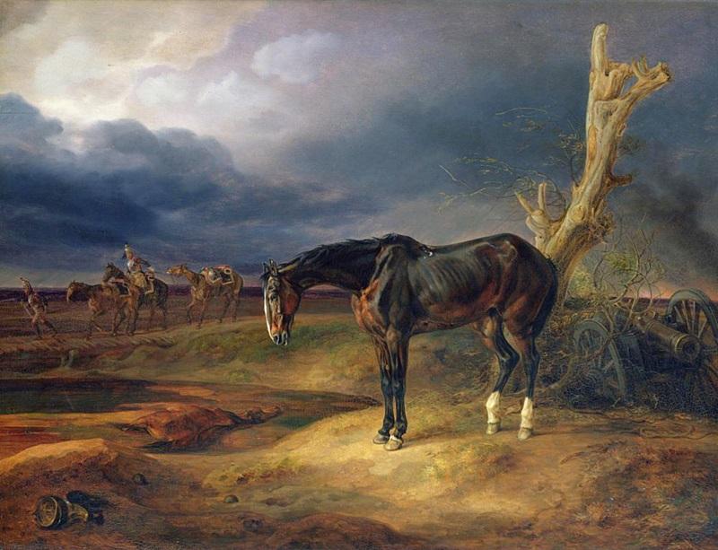 Лошадь без наездника на поле битвы в Мошайске в 1812 году
