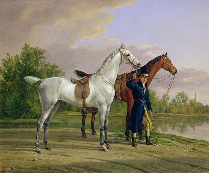 Портрет человека с двумя лошадьми