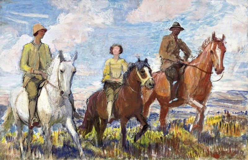 Мэри, Хильда и Джордж на лошади, Стадленд.