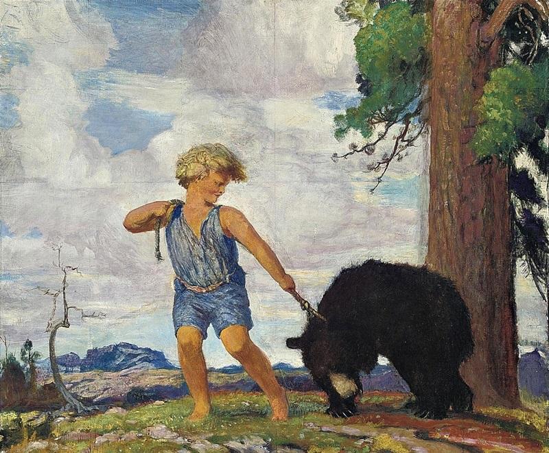 Ребенок, ведущий медведя.