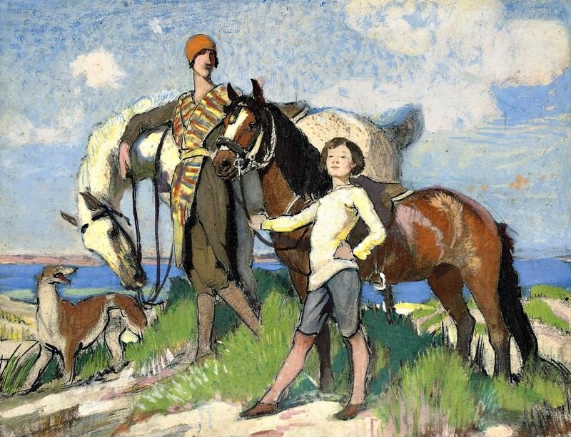 Этюд Мэри и Хильды на лошади.