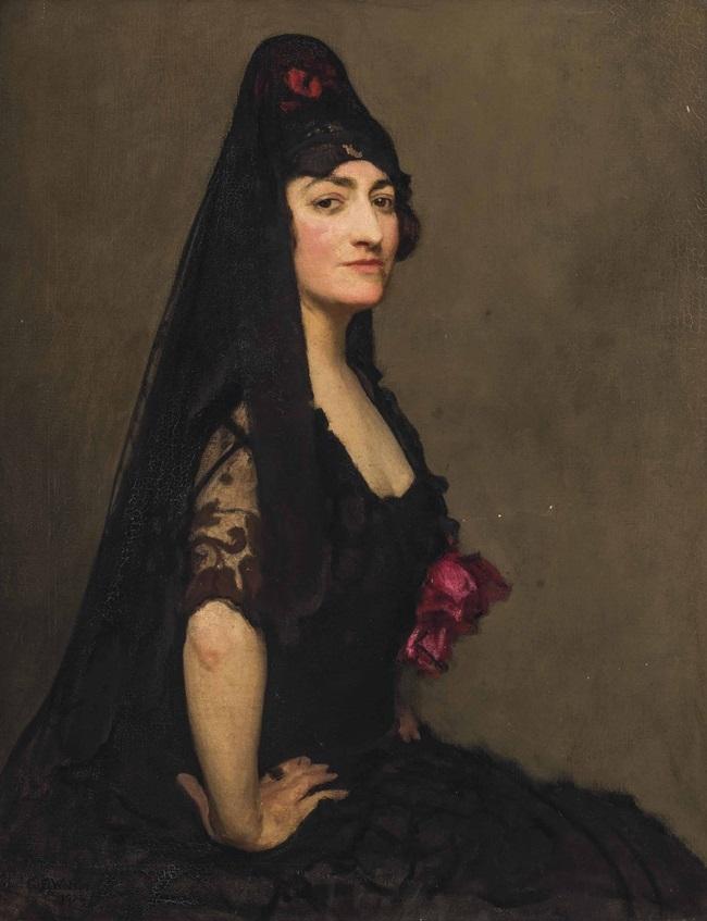 Портрет Азры Хинкс, графини Морфи в испанской мантилье.