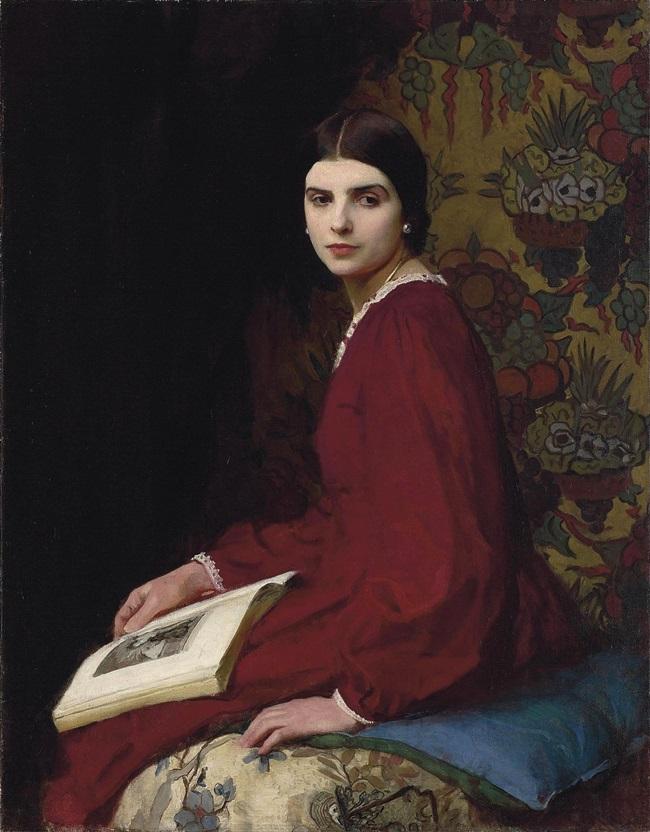 Портрет Бетти Маккан в красном платье.