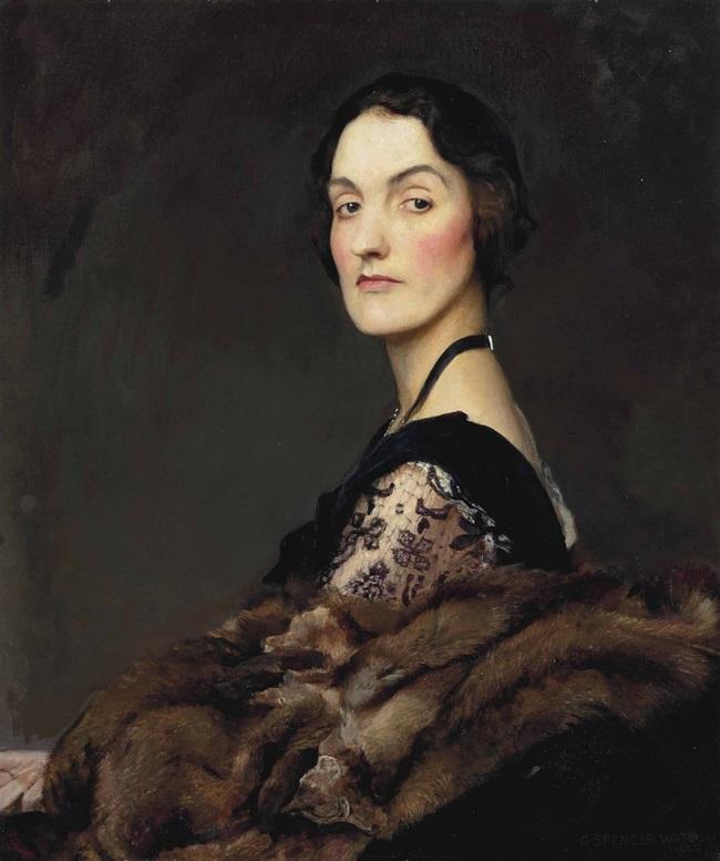 Портрет дамы в черном и кружевном платье, с мехом.
