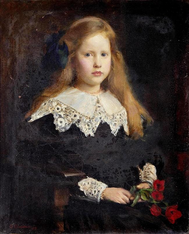 Портрет девочки с тюльпанами.