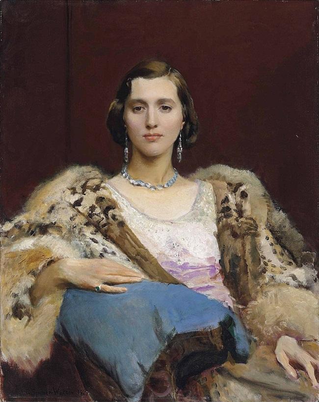 Портрет мисс Дьюитт в леопардовой накидке.