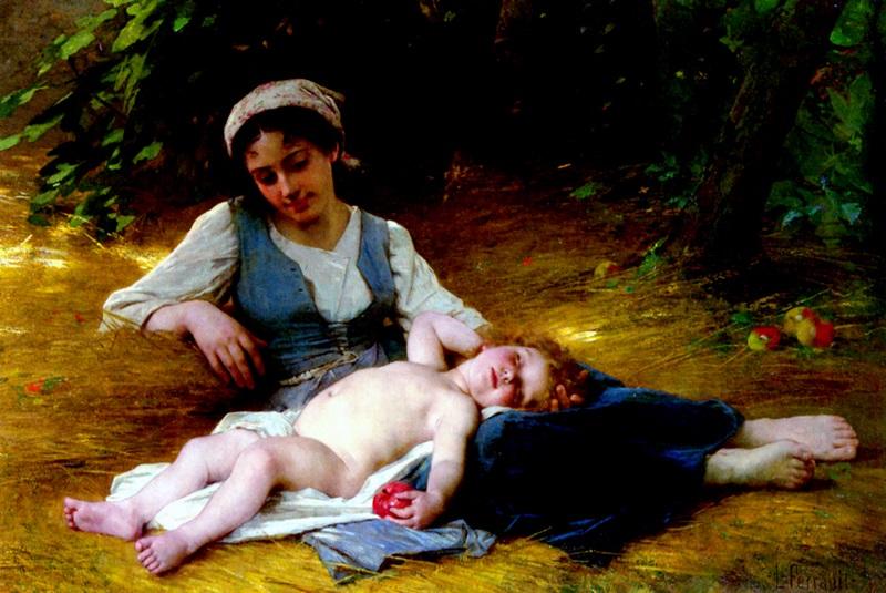 Мать со спящим ребенком.