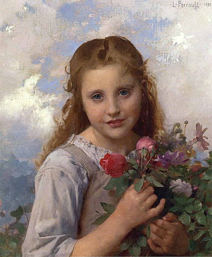 Молодая девушка с букетом цветов.