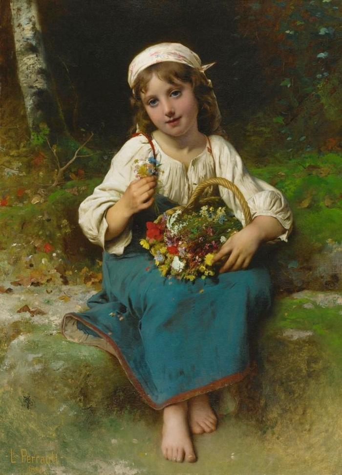 Молодая девушка с корзиной цветов.