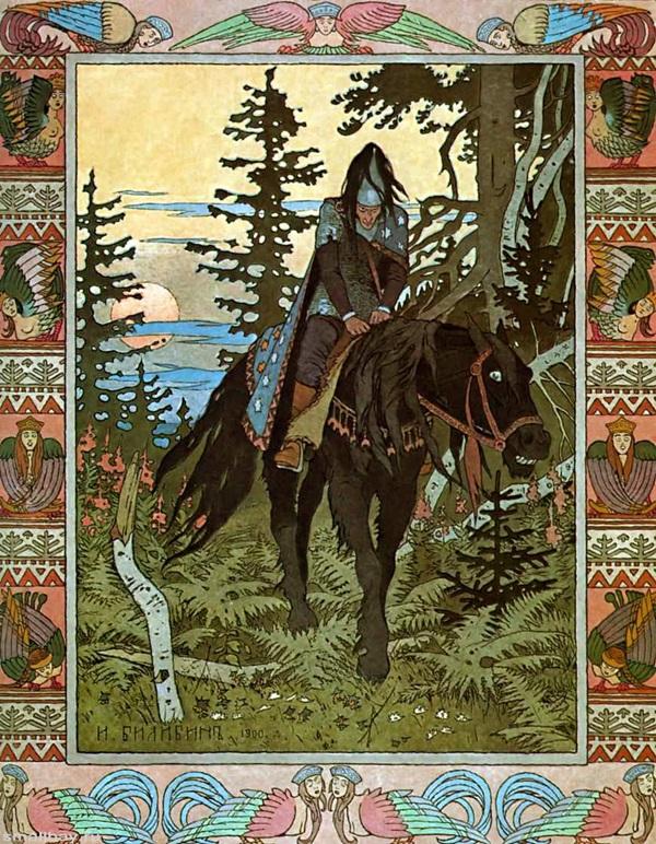 Черный всадник, Иллюстрация к сказке ВасилисаПрекрасная