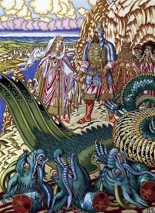 Добрыня Никитич освобождает от Змея Горыныча Забаву Путятичну, 1941, Русский музей