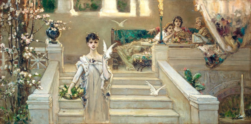 Римская красавица с голубями.