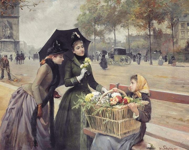 Маленькая продавщица цветов на Елисейских полях.