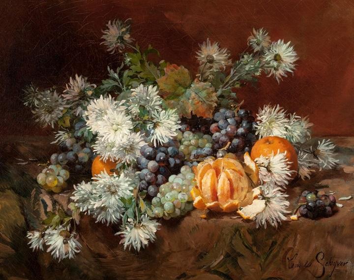 Натюрморт с фруктами и цветами.