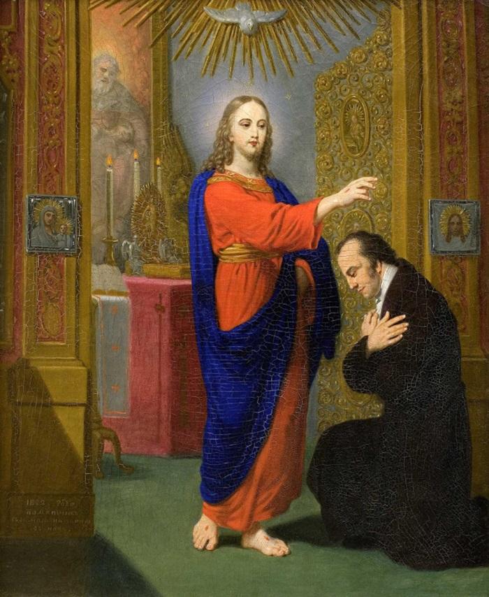 Христос, благословляющий коленопреклоненного мужчину.