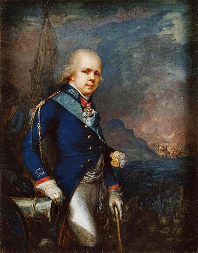 Портрет великого князя Константина Павловича на фоне сражения при Нови