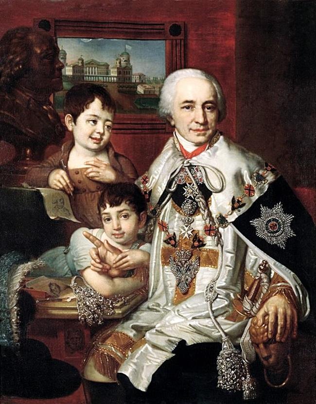 Портрет графа Григория Григорьевича Кушелева с детьми