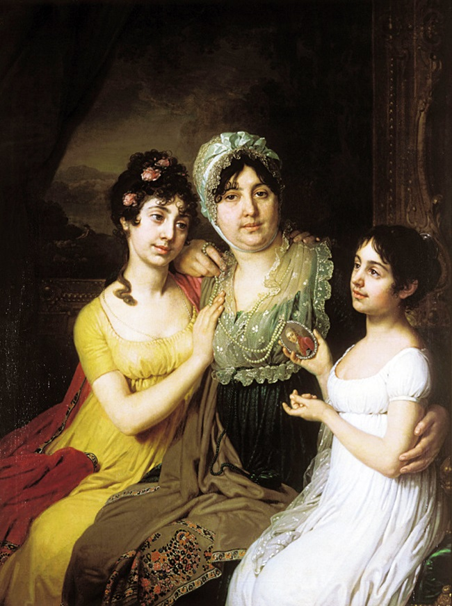 Портрет графини Анны Ивановны Безбородко с дочерьми Любовью и Клеопатрой