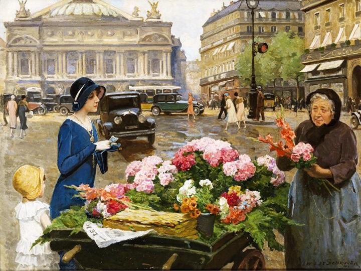 Продавщица цветов в Париже.