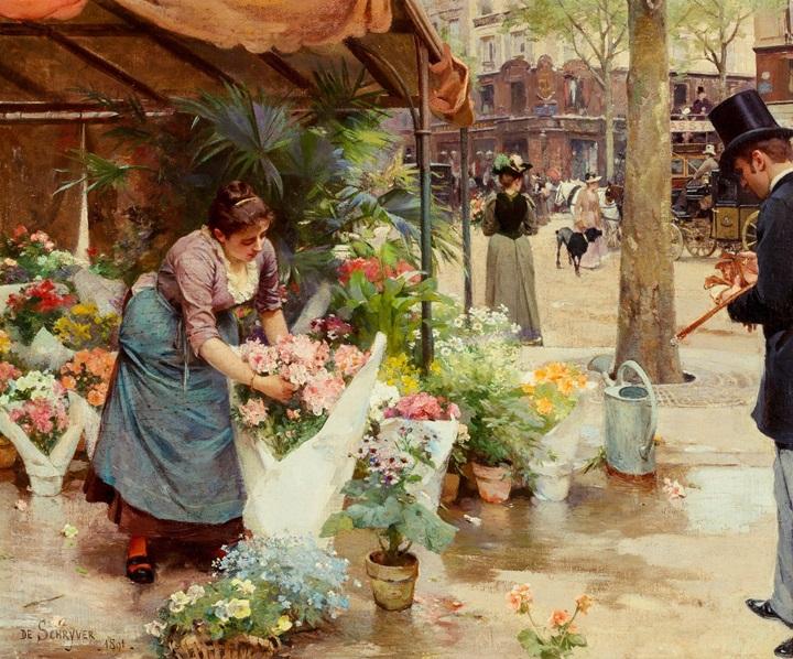Цветочный рынок Ла Мадлен.