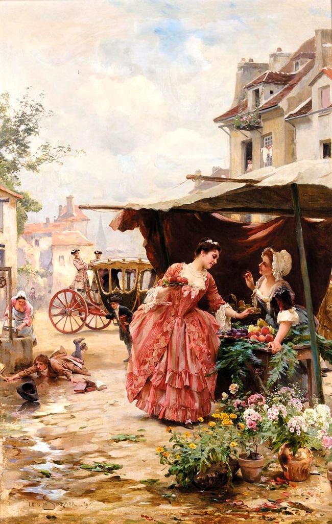 Продавщица цветов и фруктов.