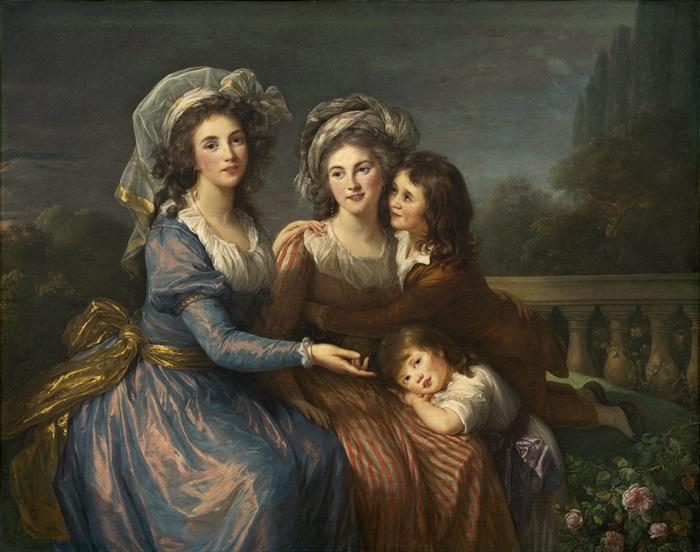 Маркиза де Пезэ, и маркиза де Руж с сыновьями Алексисом и Адриеном
