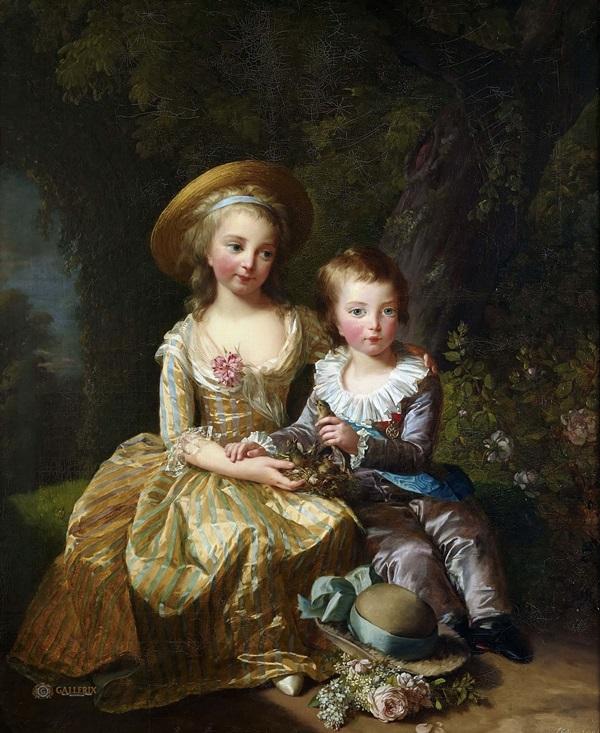 Мария-Тереза Шарлотта де Франс и ее брат дофин французский Людовик Жозеф Ксавье Франсуа