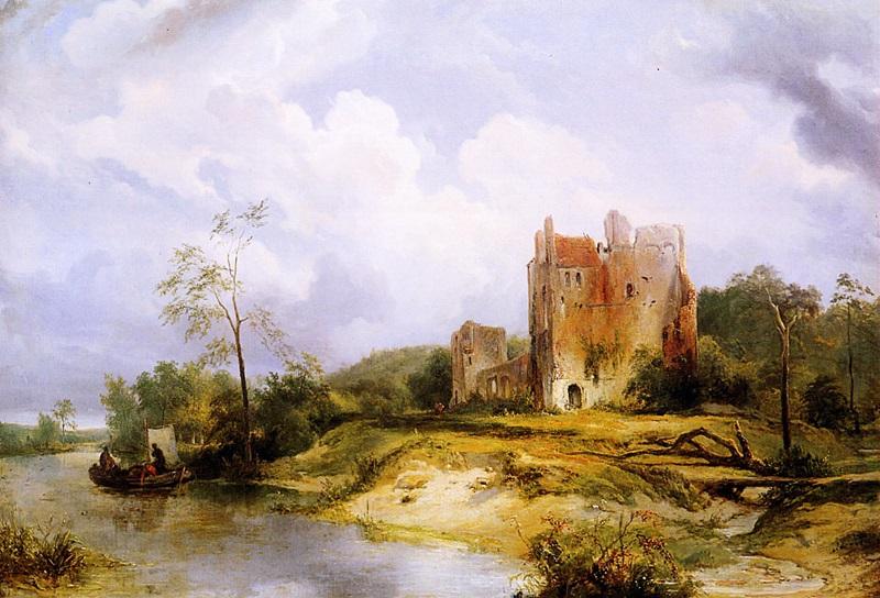 Пейзаж с рекой и руинами
