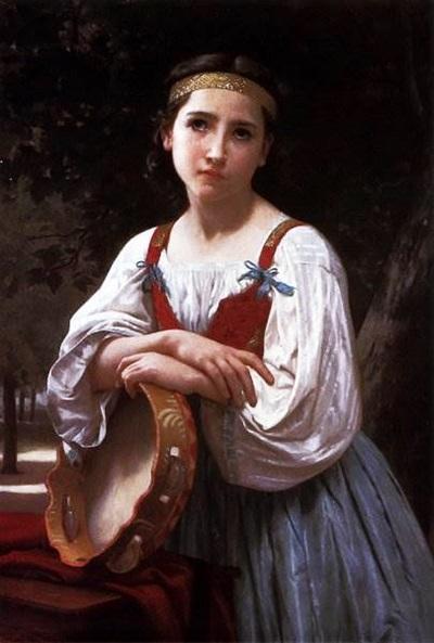 Цыганская девочка с баскским бубном