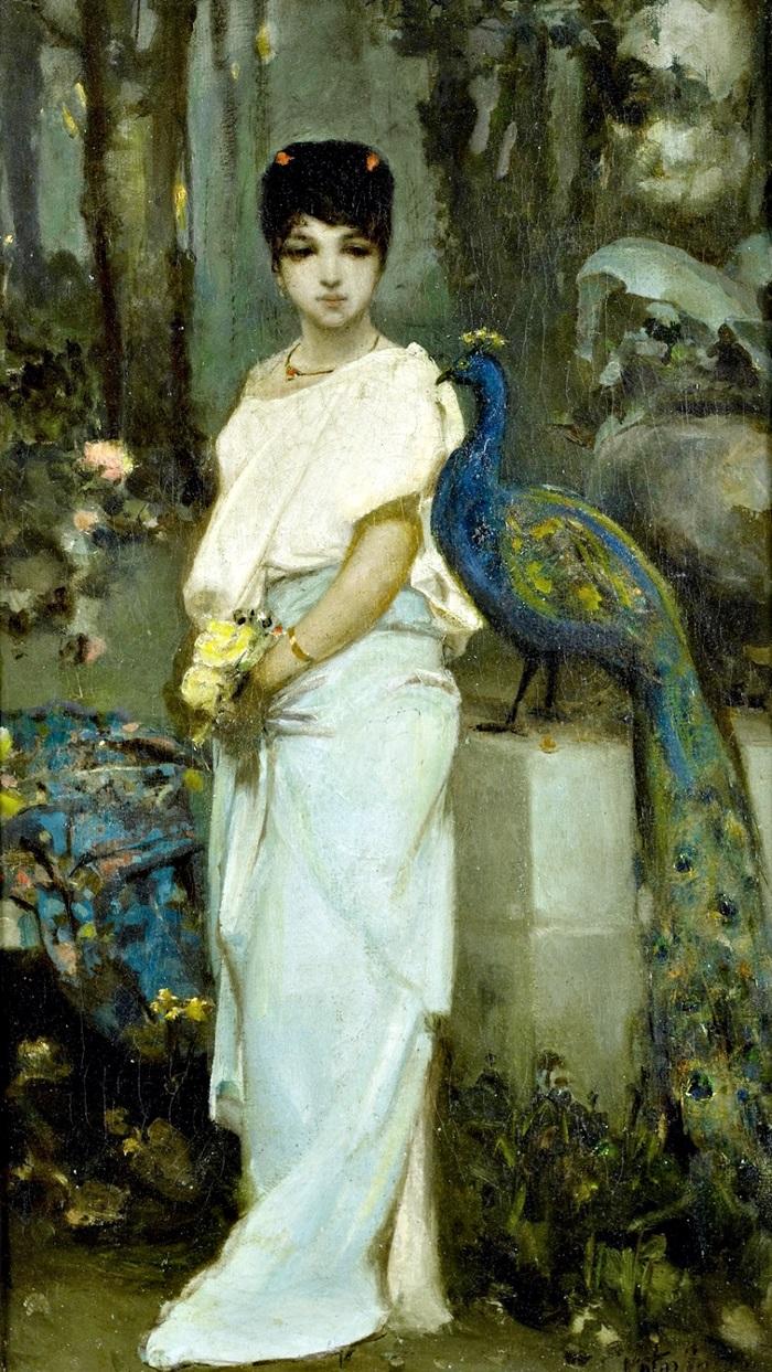 Молодая дама с павлином.