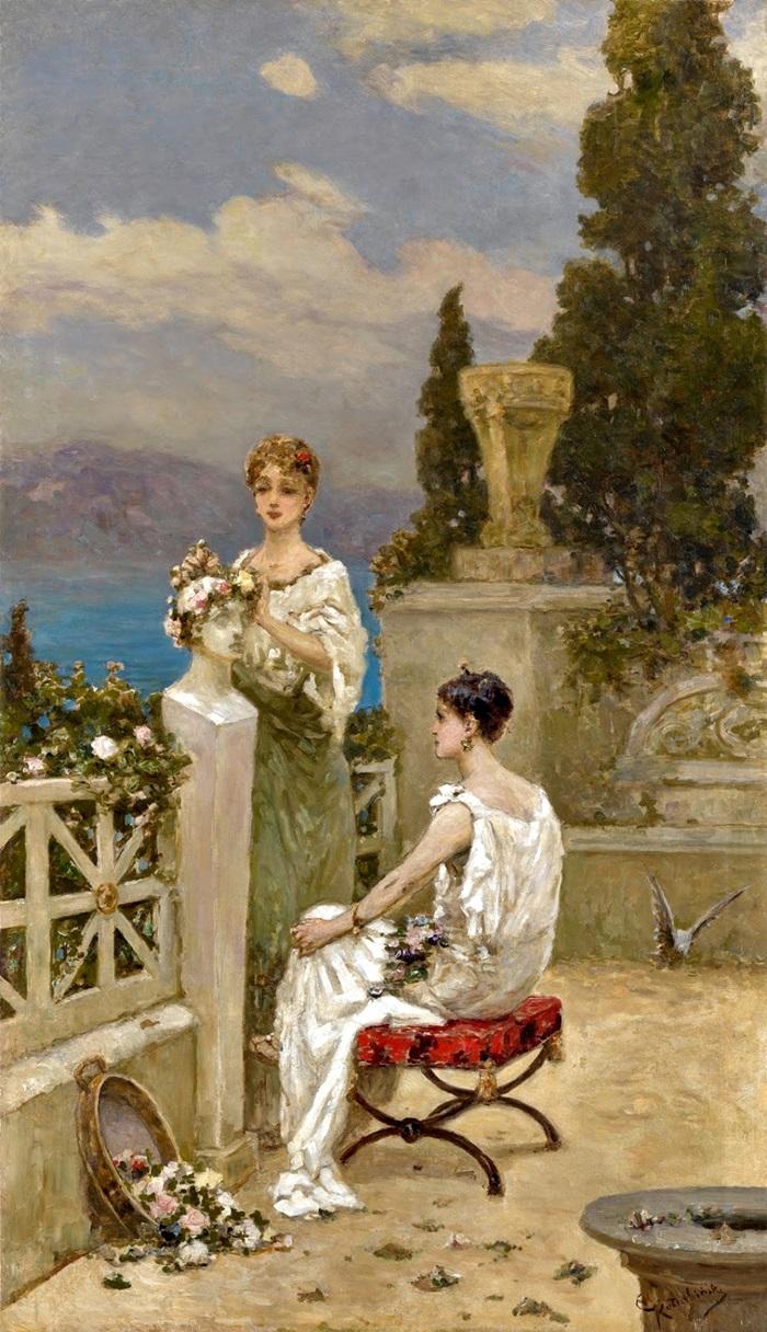 Молодые женщины на террасе.