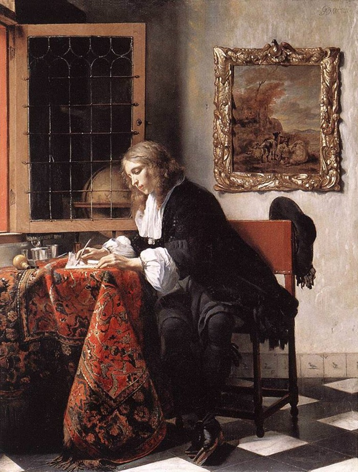 Мужчина, пишущий письмо