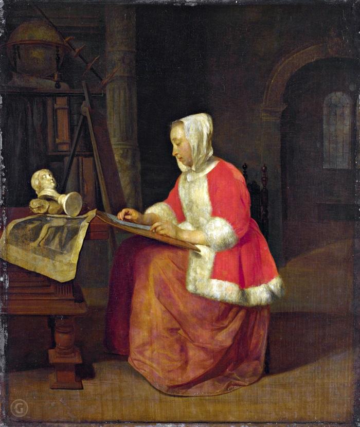 Рисующая молодая женщина