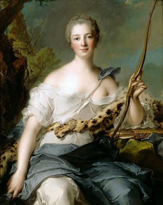 Жанна-Антуанетта Пуассон (1722-1764), маркиза де Помпадур, в образе Дианы-Охотницы.