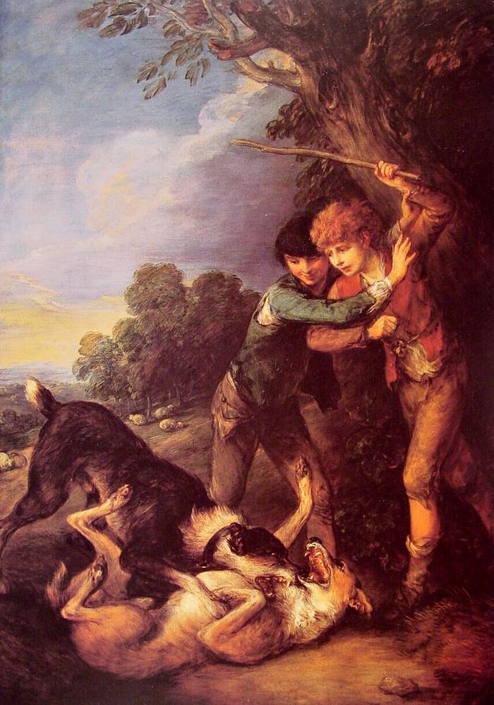 Юные пастухи и собачья драка