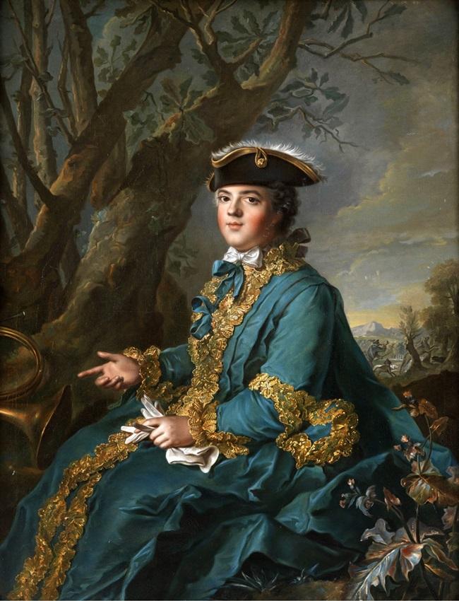 Мария-Луиза-Елизавета де Бурбон в охотничьем наряде.