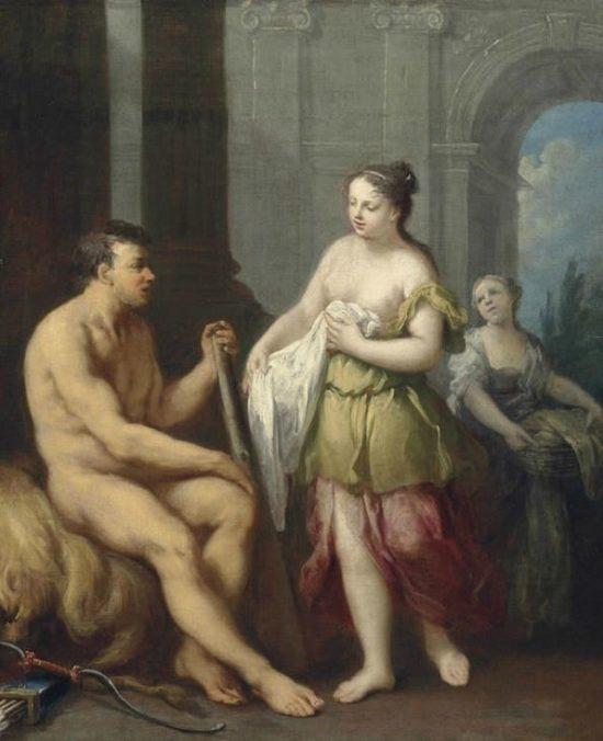 Геркулес за воротами Микен со шкурой Немейского льва.