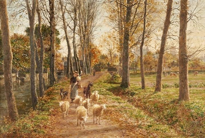 Молодая пастушка и ее пасомые в лесистой местности.