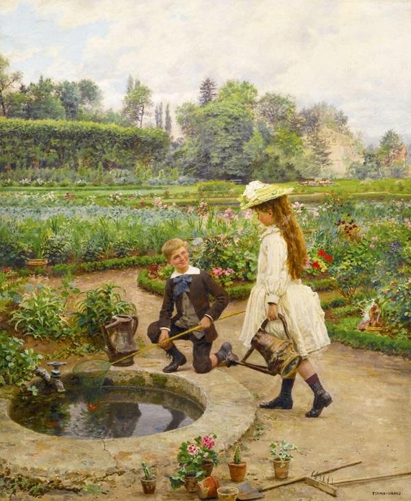 Дети около водоема.