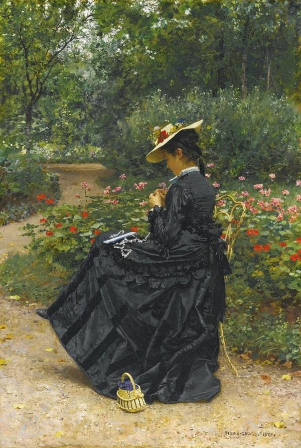 Женщина, шьющая в саду.