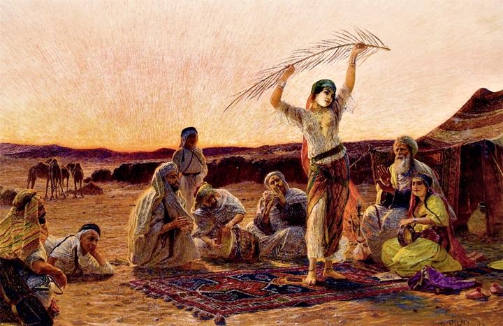Арабская танцовщица около оазиса.