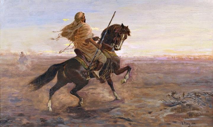 Арабский всадник в степи.