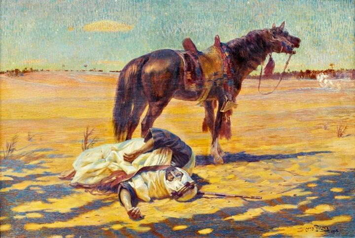 Воин и конь в пустыне.