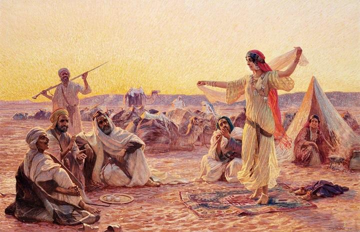 Одалиска, танцующая в пустыне.