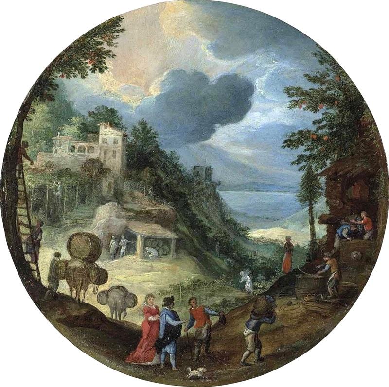 Аллегория осени (Лесной пейзаж с фигурами и винным прессом).