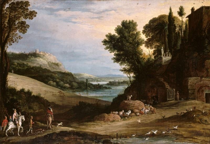 Итальянский пейзаж с охотниками, направляющимися к вилле.