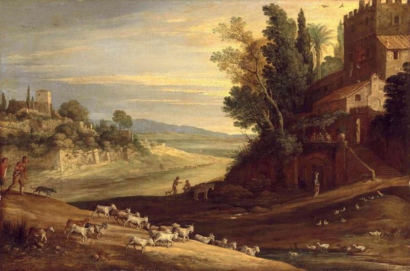 Обширный итальянский пейзаж с пастухами, гонящими стадо и ужином в Эммаусе.