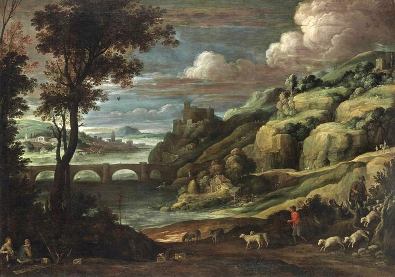 Обширный пейзаж с замком на холме над мостом.
