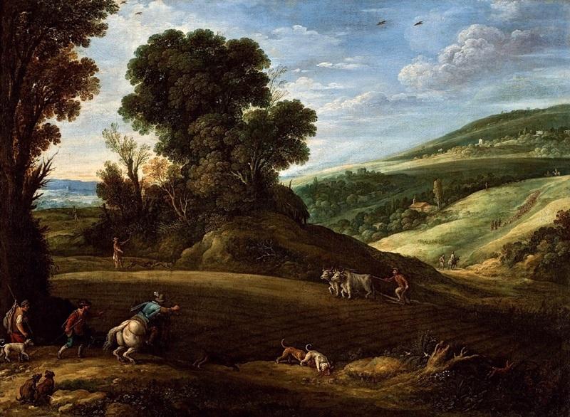 Обширный пейзаж с охотниками, пересекающими поле с пахарем.