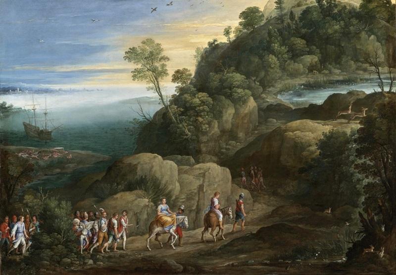 Обширный пейзаж с похищением Феагена и Хариклеи.